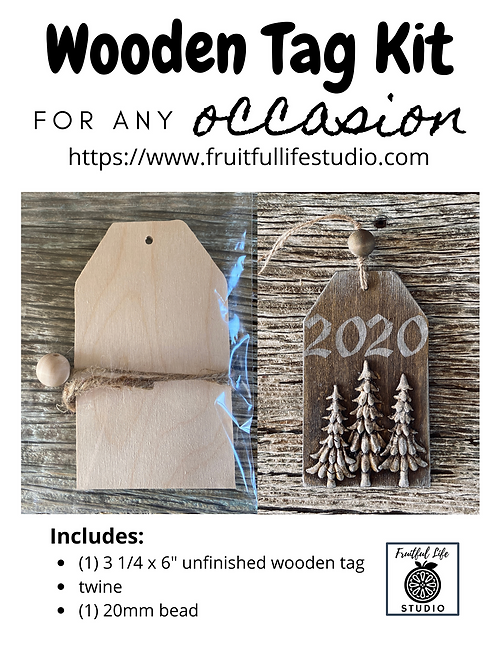 "3.25"" x 6"" Wooden Tag Kit,  Made in the USA"