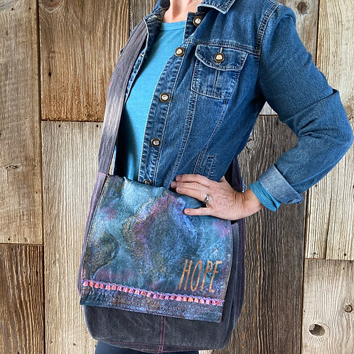 "Boho Hand Painted ""Hope"" Messenger Bag"