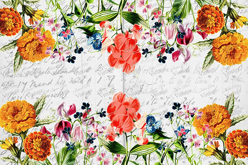 "Summer Flower Garden, JRV Decoupage Paper, 30"" x 20"""