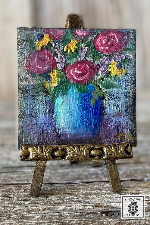 """Mini 4"""" Canvas Flower Vase Painting, DIY Paint"""