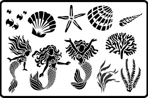 """Mermaid Magic JRV Stencil 11.5"""" x 17.5"""""""