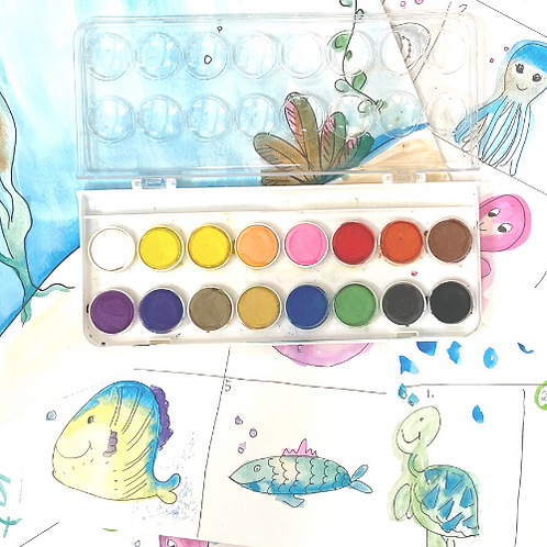 Mermaid Paint, Watercolors, Zen Art , Paint Pixie