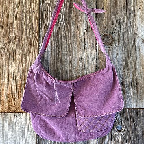 Pink Denim Boho Bag, Fully Lined