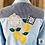 Thumbnail: Lemons Chambray Shirt, Medium, Hand Painted, Upcycled, DIY Paint, IOD Stamps