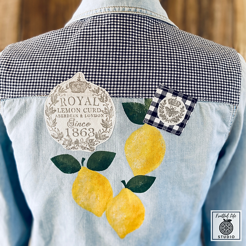 Lemons Chambray Shirt, Medium, Hand Painted, Upcycled, DIY Paint, IOD Stamps