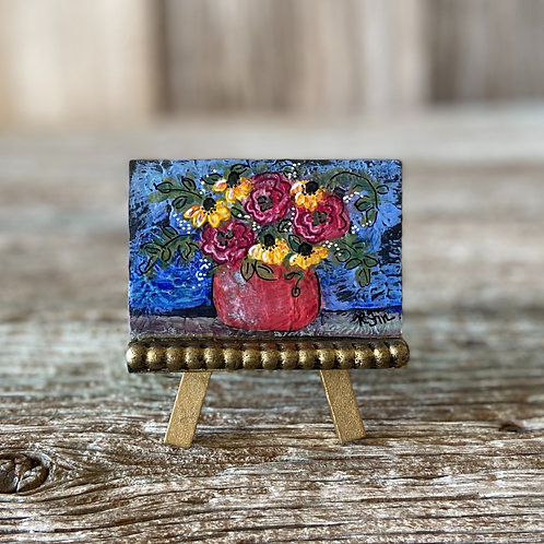 Original Mini Boho Red Flower Vase Painting, DIY Paint