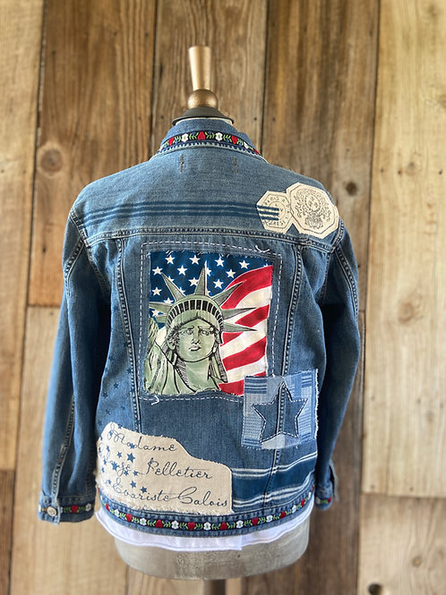 Patriotic Denim Jacket, Upcycled, Statue of Liberty, French