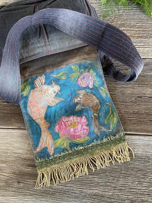 Hand Painted Koi & Peony Messenger Bag