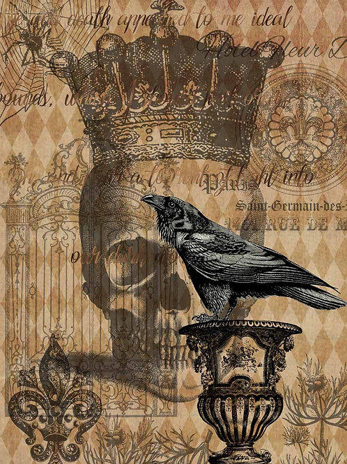 Halloween Raven With Skull and Gate, Decoupage Queen Rice Paper