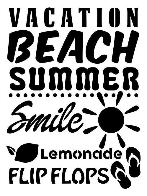 """Vacation JRV Stencil,  11.5"""" x 15.6"""""""