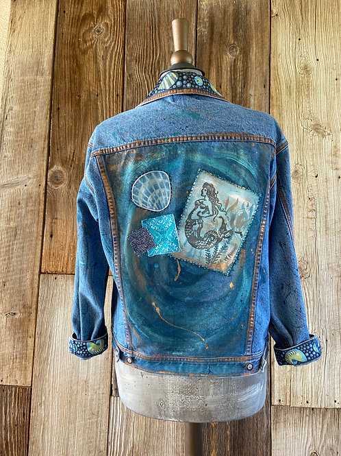 Boho Mermaid Denim Jacket, Hand Painted