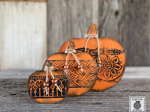 Pumpkin Set (3), Two-sided, Hand-painted, Wood,  Made in USA