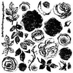"""Painterly Roses, IOD Decor Stamp With Masks, 12"""" x 12"""""""