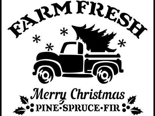 "Farm Fresh Christmas Truck JRV 11.5"" x 14"""