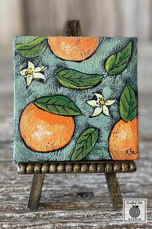 "Mini 4"" Canvas Orange Blossom Citrus Painting, DIY Paint"