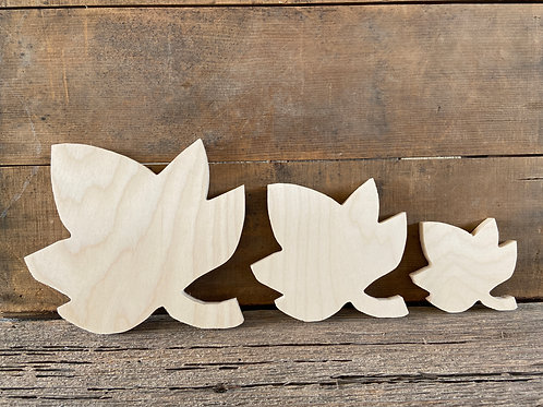 "Fall Leaves, 4"", 6"", 8"", Wooden, Free-standing, Made in USA"