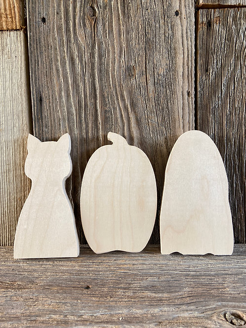 "6"" Stand-up Cat, Pumpkin, Ghost Trio, Wood,  Made in the USA"
