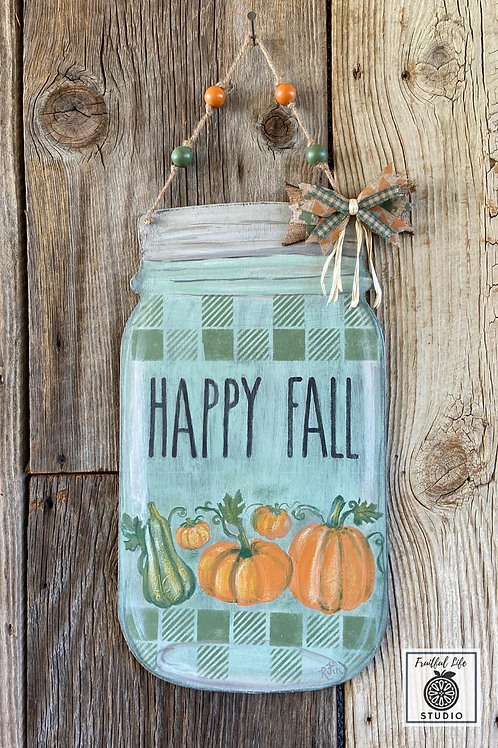 Fall Jar Door Tag, Hand-painted, Wood,  Made in USA