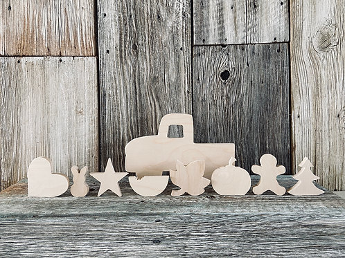 Old Truck Seasonal Set of (9),  Family Craft, Wood, Made in the USA