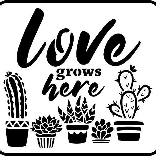 "Love Grows Here JRV 11.5"" x 12.5"""