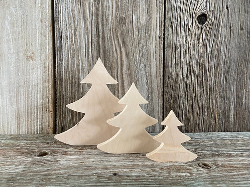 "Wood Tree Set: 12"", 10"", 8"",  Made in the USA"