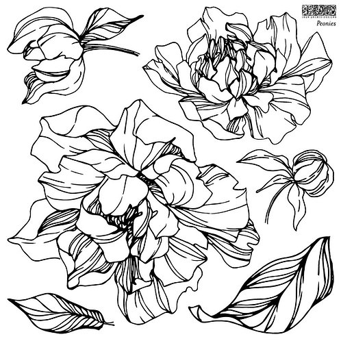 Peonies (2 sheets), IOD Decor Stamp