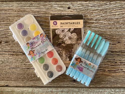 Mermaid Paint Bundle & BONUS: Watercolors, Brush Pens, Zen Art , Paint Pixie