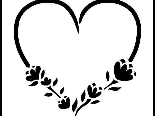 "Floral Heart JRV 8"" x 9.4"""