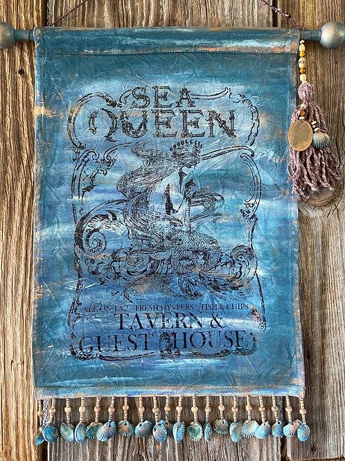 Hand Painted Sea Queen Mermaid, Wall Hanging