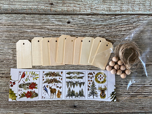 """Wood Tag Banner Kit, Wood Tags (10) 1 5/8"""" x 3 1/4"""" ,  Made in the USA"""