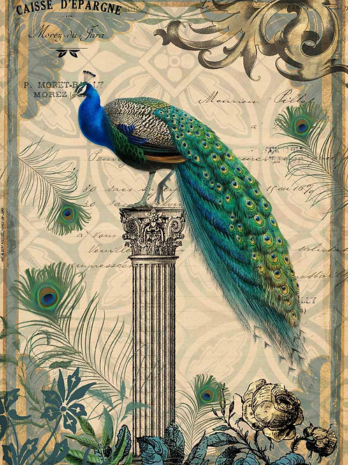 Peacock on a Pedestal, Decoupage Queen Rice Paper