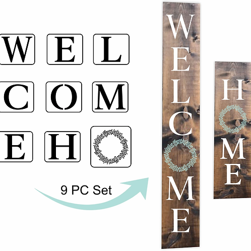 Welcome & Home, JRV Stencil Set, 9 pc.