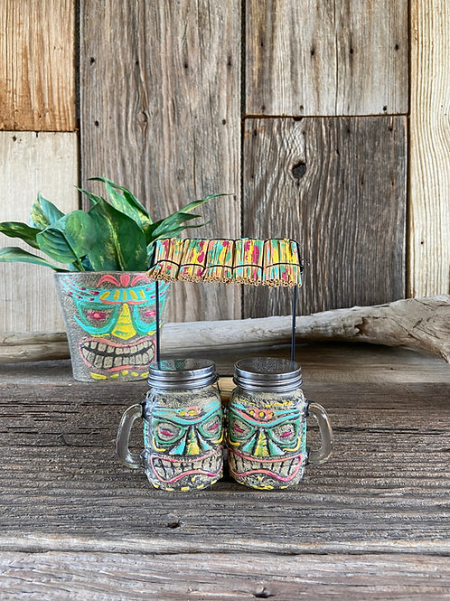 Tiki Salt & Pepper, Succulent Pot Set, Hand Painted DIY Paint
