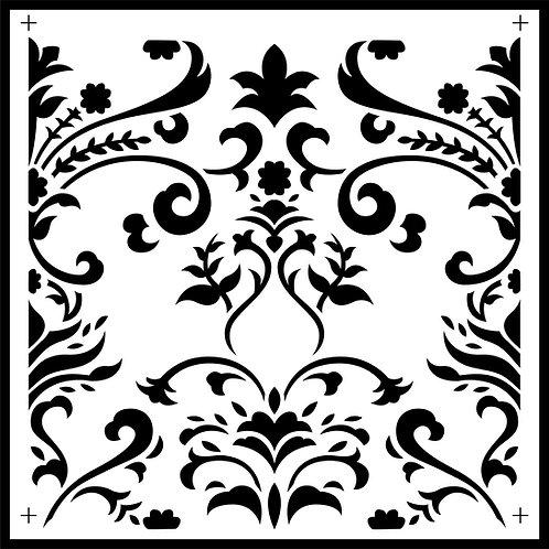 "Damask Tile,  JRV Stencil,  11.5"" x 11.5"""