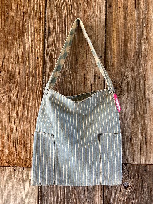 Denim Pinstripe Tote Bag, Fully Lined