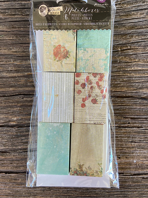 Bella Rouge Matchboxes, 6 Pieces, Mixed Media