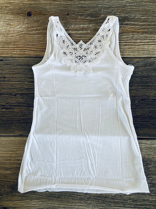 White Tank, Cotton, Lace, Racerback