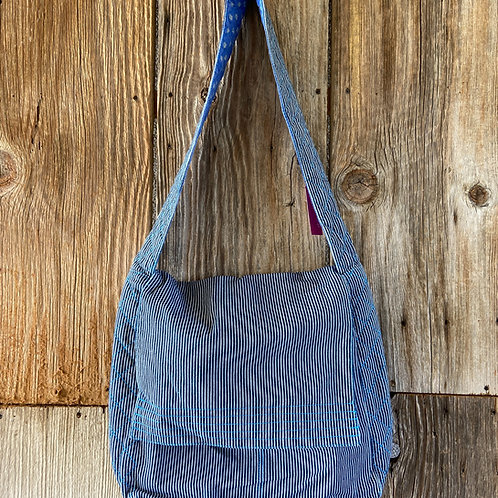 Blue Stripe Denim Messenger Bag, Fully Lined