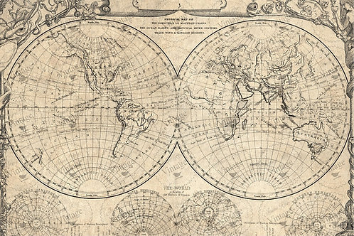 "BLUE World Map, JRV Decoupage Paper, 30"" x 20"""