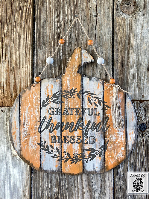 Grateful Pumpkin Door Hanger, Hand-painted, Wood,  Made in USA