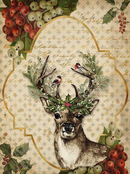 Christmas Reindeer, Decoupage Queen Rice Paper