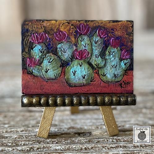 Original Mini Boho Cacti Painting, DIY Paint, Cactus