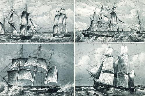 "Ships at Sea, JRV Decoupage Paper, 30"" x 20"""