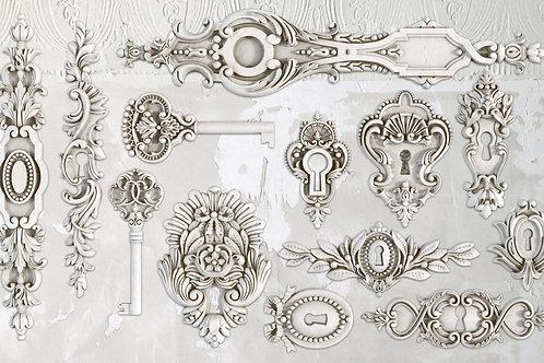 "Lock and Key, IOD Decor Mould,  6""x10"""