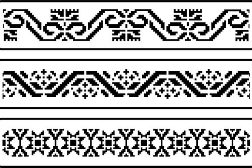 "Mexican Embroidery Border Set JRV (3) 3.25"" x 17.5"""