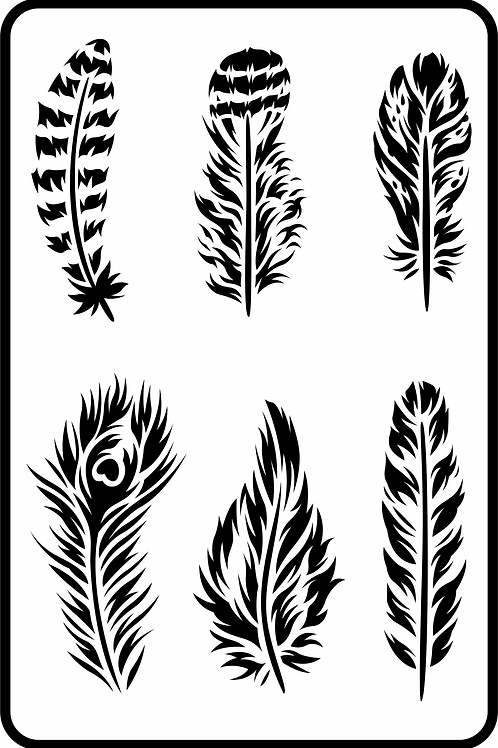 """Feathers JRV Stencil 11.5"""" x 17.5"""""""