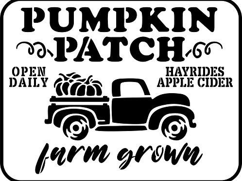 """Pumpkin Patch Truck, JRV Stencil,  11.5"""" x 15"""""""