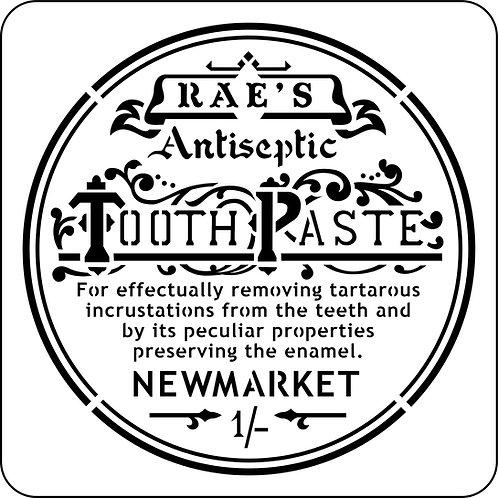 Rae's Toothpaste Label, JRV Stencil