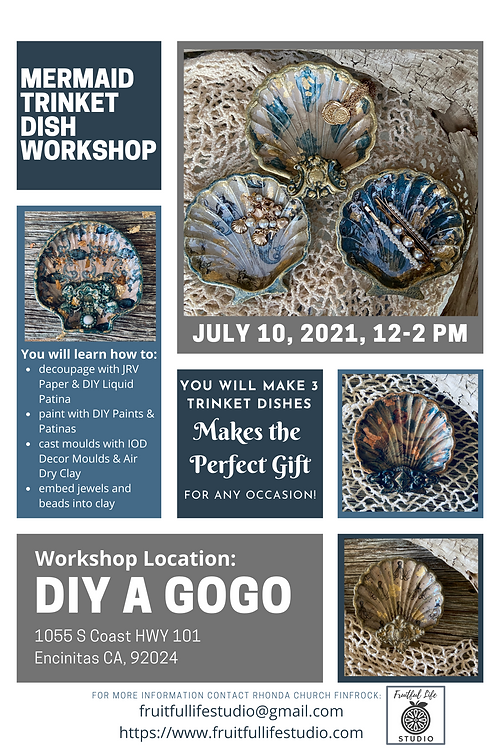 Mermaid Trinket Dishes Workshop: Online & In-Person at DIY 'A Gogo