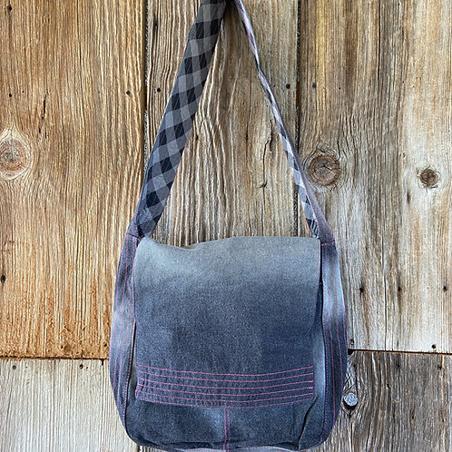 Black Denim Messenger Bag, Fully Lined